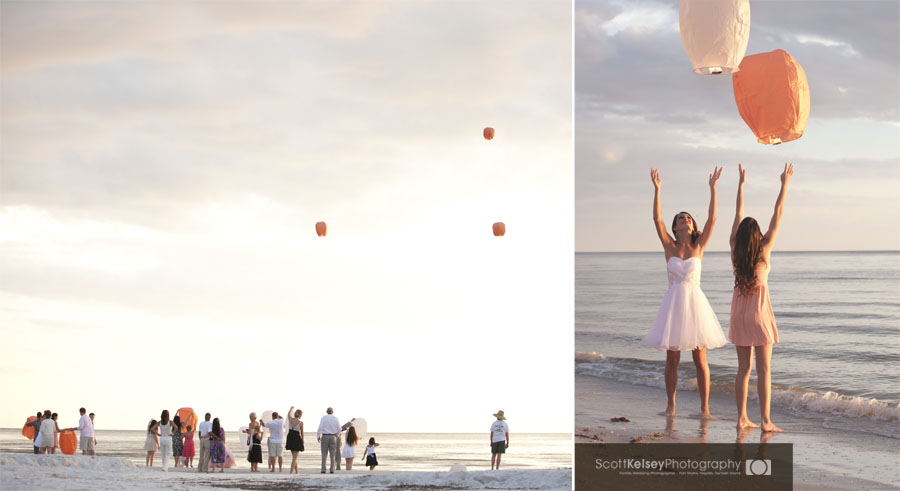 Paper lanterns at a Fort Myers Beach Sunset Wedding